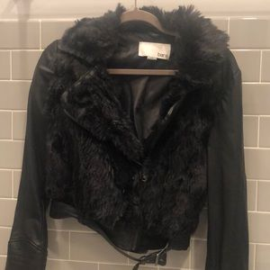 Bar III faux leather faux fur bomber jacket